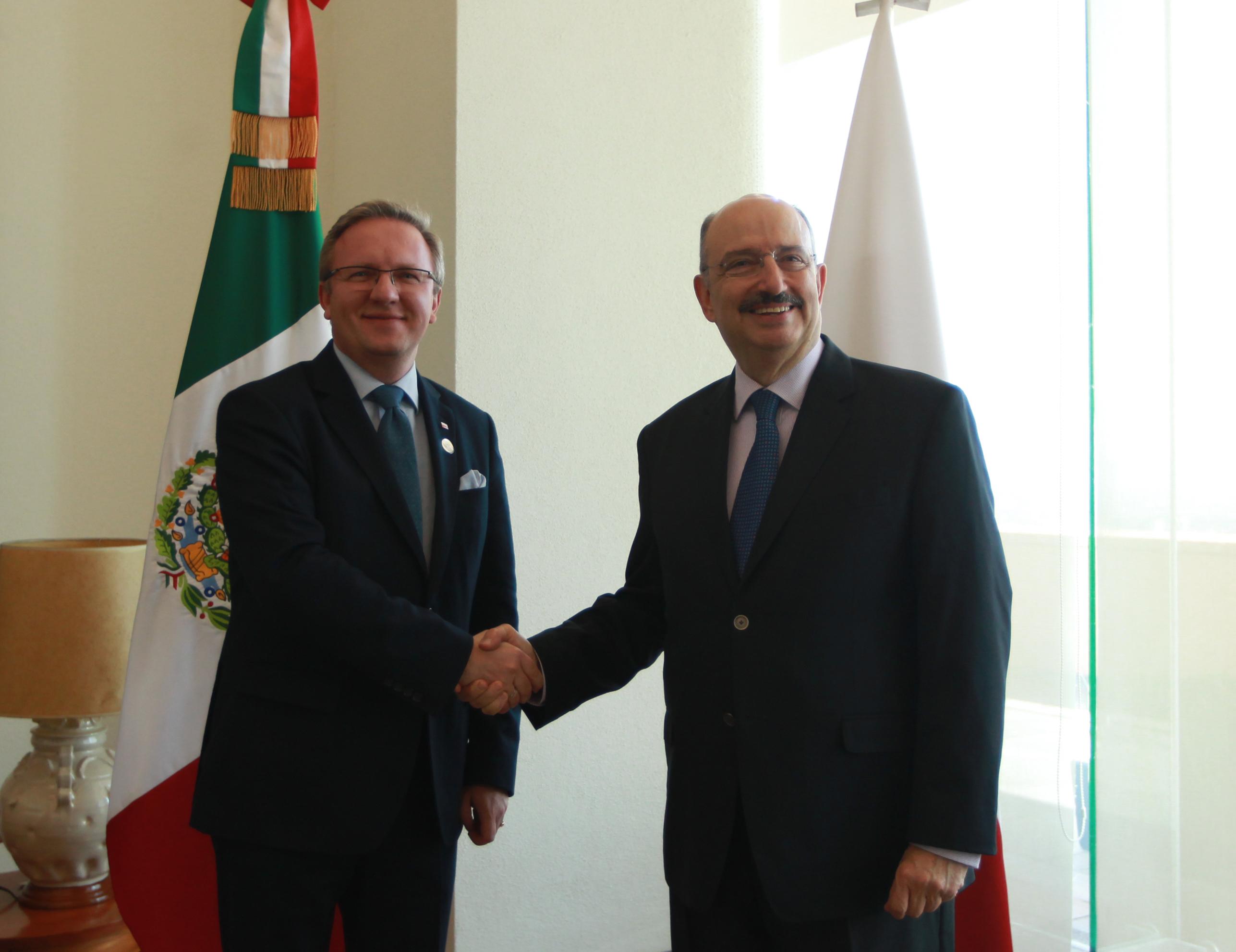 El Subsecretario de Relaciones Exteriores Carlos De Icaza y el Secretario de Estado para Asuntos Exteriores de la Presidencia de Polonia,Krysztof Szczerski