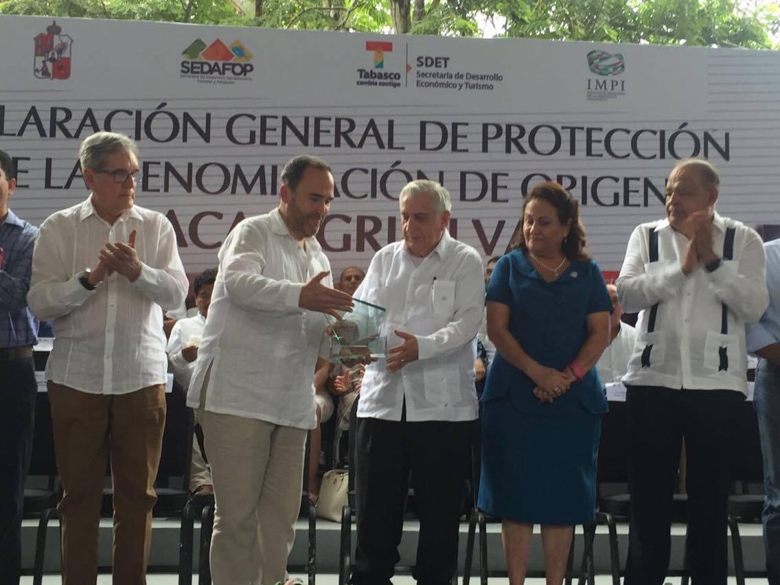 """IMPI entrega al estado de Tabasco la  Declaratoria General de Denominación de Origen """"Cacao Grijalva"""""""