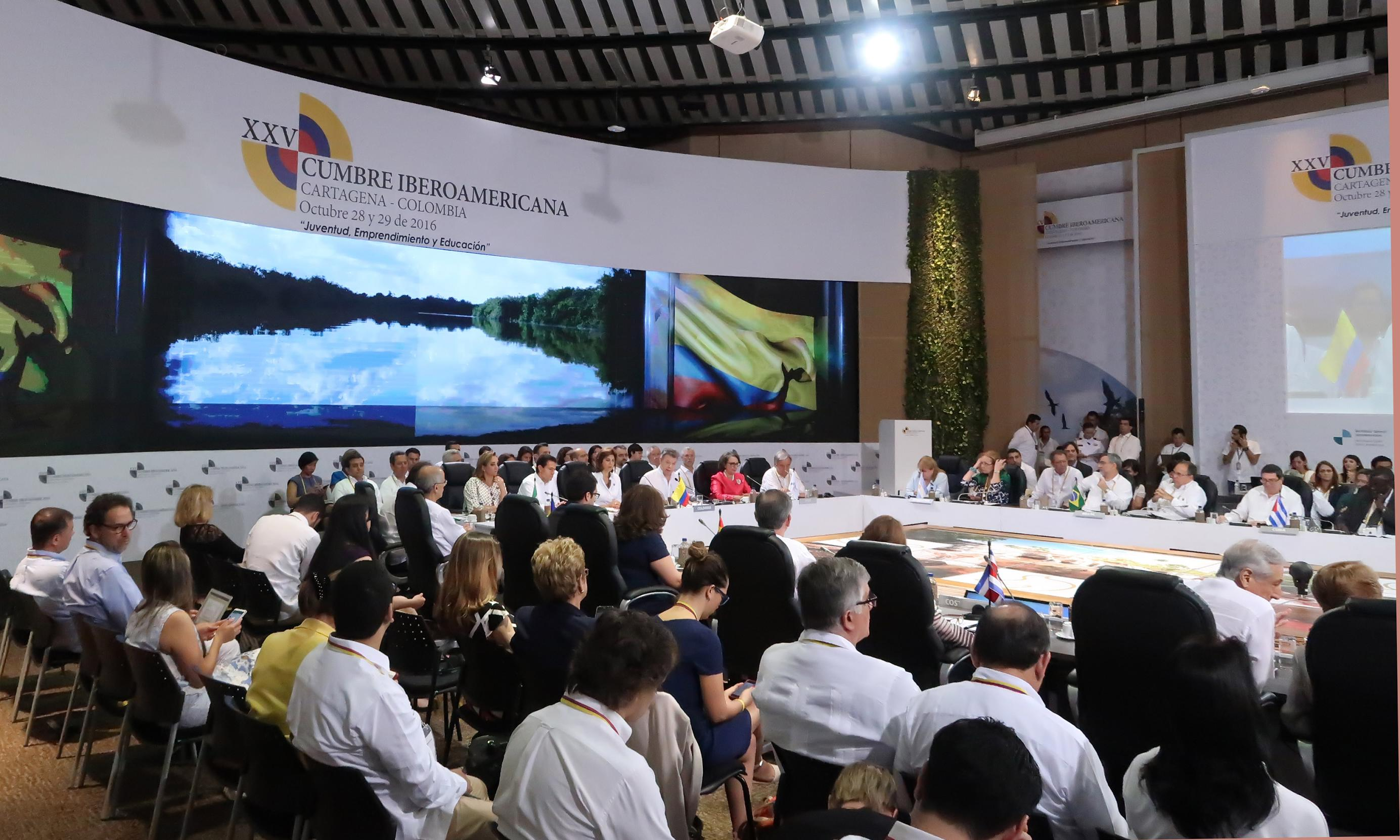 The president participated in the first working session of the 25th Ibero-American Summit in Cartagena de Indias, Colombia.