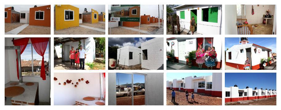 En la foto, aparecen personas con casas nuevas, beneficiadas por FONHAPO que destinó importantes recursos en municipios que forman parte de la Cruzada Nacional Contra el Hambre.