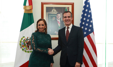 La Secretaria Claudia Ruiz Massieu sostuvo un encuentro con el Alcalde de Los Ángeles, Eric Garcetti