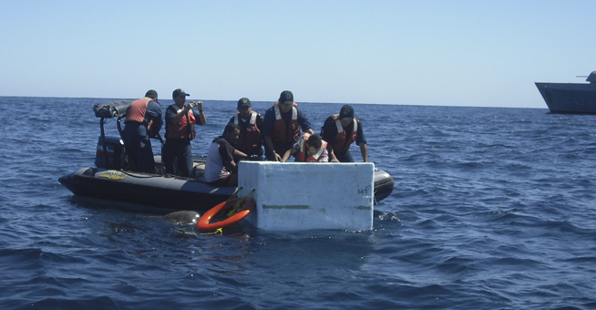 Pescadores que habían naufragado
