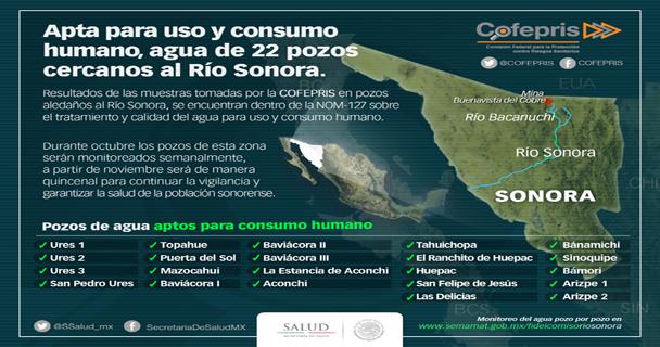 La COFEPRIS entrega resultados sobre  la calidad del agua de 22 pozos aledaños al Río Sonora