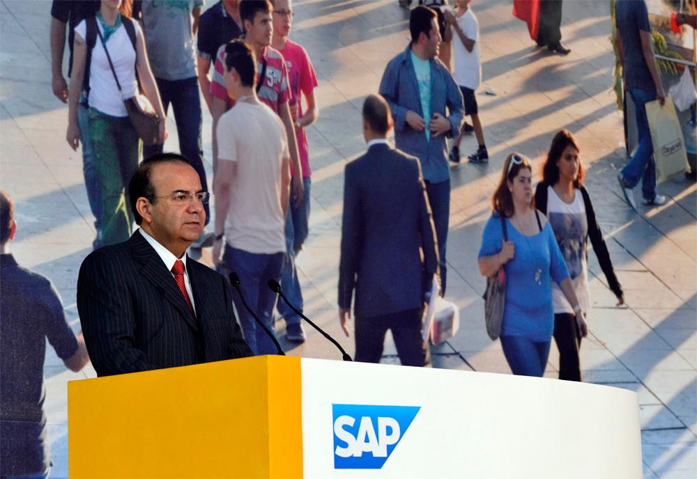 """El Secretario del Trabajo y Previsión Social, Alfonso Navarrete Prida, al inaugurar el Foro SAP Sector Público """"Transformación para un México Digital""""."""